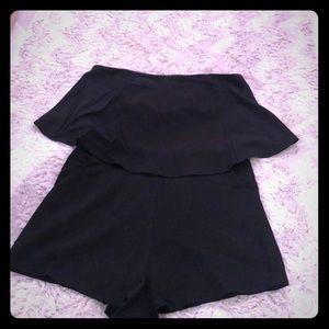Black Strapless Romper
